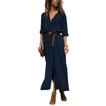Women Button Down Collar Roll Up Sleeve Casual Long Maxi Shirt Dress Split Solid