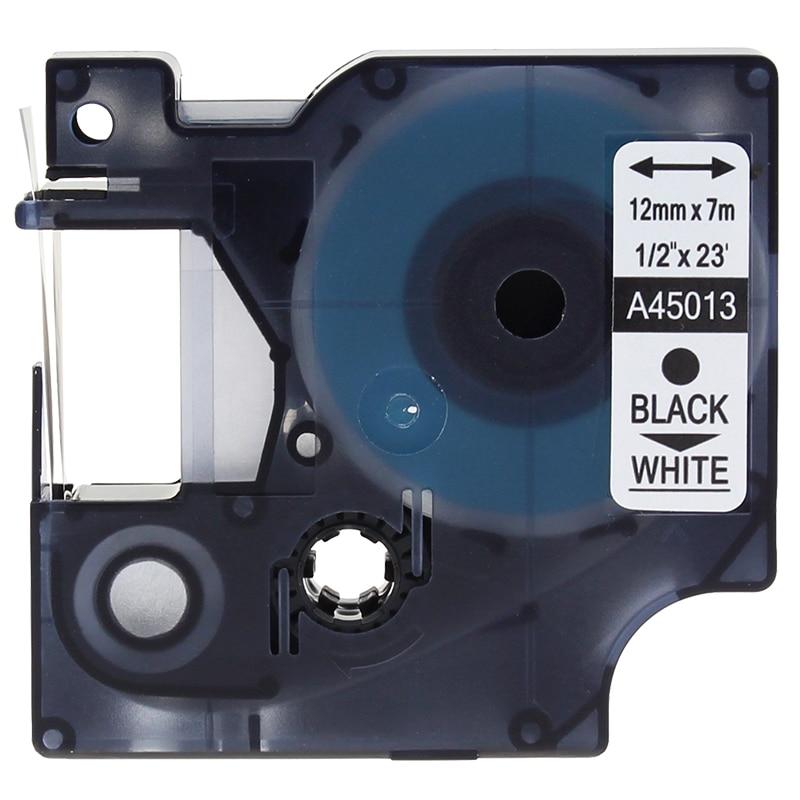91201 5x SCHRIFTBAND KASSETTE 12mm BLACK//WHITE PLASTIC für DYMO S0721610