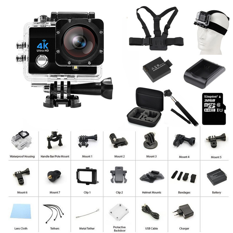 4K Wifi Diving 30m Waterproof Car Helmet Sports WiFi Night Fill-in Light HD  Sports Action Camera Cam 2 inch Screen HD 16mp Q3H+