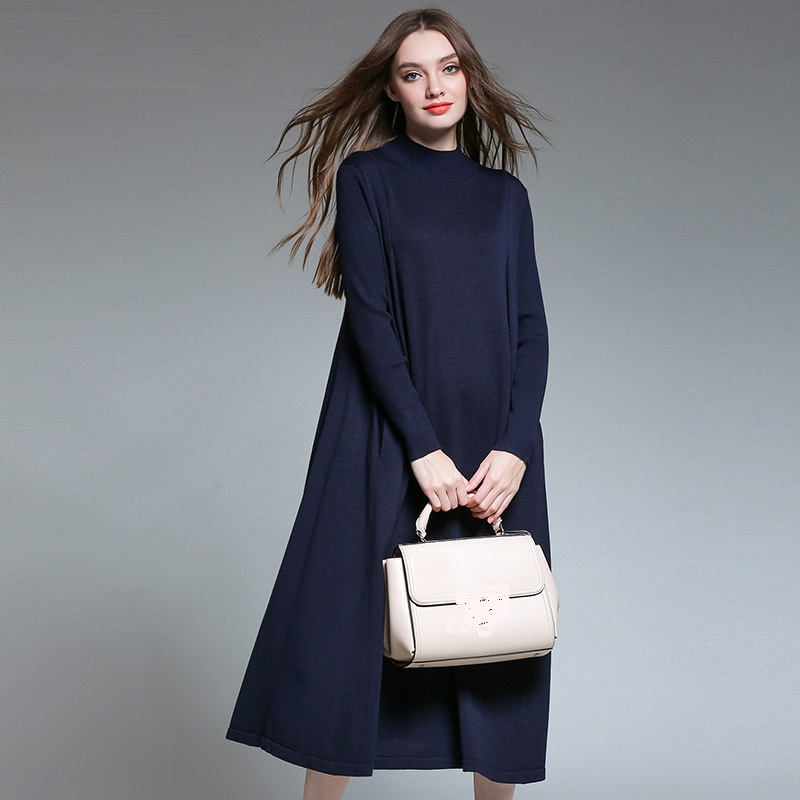 2017Autumn Winter Fashion Ladies knitted long Dress comfortable loose fit elegant turtleneck sweater dress casual vestidos 6635