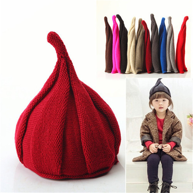 Candy Color Child winter knitted hat Autumn Winter Warm Pointed Hat Boys  girls Warm cap Kids 56854679e50