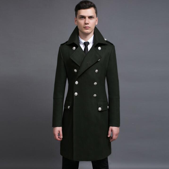 3fbc82a4549 New Winter plus size jackets Mens Black Double-breasted Wool Coat Men Lapel Wool  Blend Coats Oversize Long Windbreaker Outwear