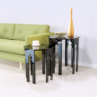 (2 Pieces/lot) Lucite Occasional Side Riser Table, Small coffee tea tables, Engraved Acrylic Nesting Sofa Tables