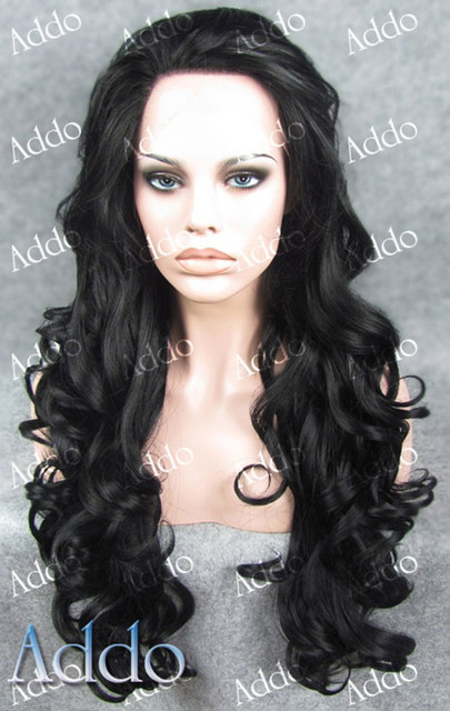 Elegant Wavy Black Synthetic lace front wigs Kim ...