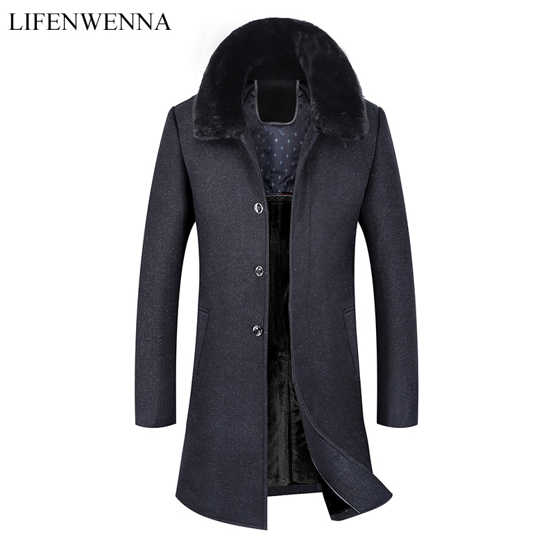 Men's Warm Long Woolen Coat 2019 New Arrival Winter High Quality Warm Thicked Trench Coat Men Men's Gray Wool Fur Collar Jackets(China)