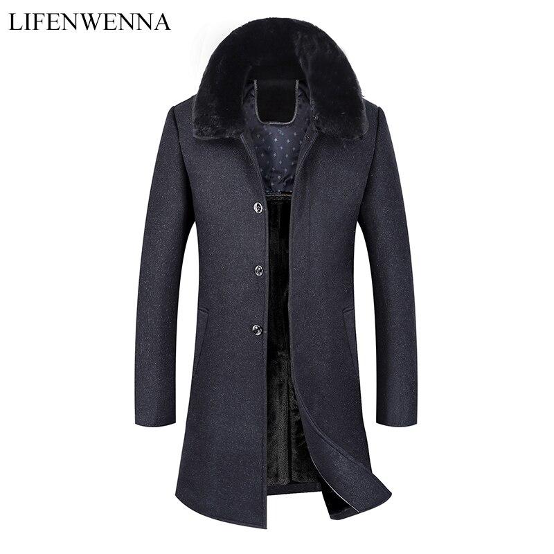 Manteau en laine Long chaud pour hommes 2019 nouveauté hiver haute qualité manteau de Trench chaud hommes gris laine col de fourrure vestes