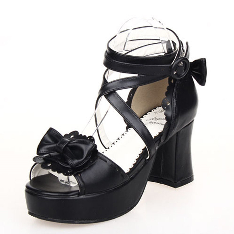 Custom-madeBig size 34-43 Women Cross strap lolita Sandals Ankle Straps Open Toe Summer Shoes Thick High Heels Platform Sandals
