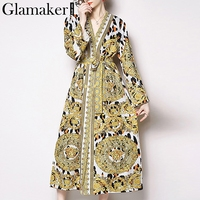 Glamaker Sexy paisley print elegant vintage women dress Summer yellow boho lace up long sleeve party club cardigan dress festa