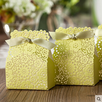 Elegant Green Laser Cut Wedding Candy Box Chcolates Party Favors Paper Bag