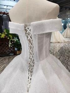 Image 5 - LSS505 strapless wedding dresses boho off shoulder corset white shiny wedding gowns with train new fashion платье атласное