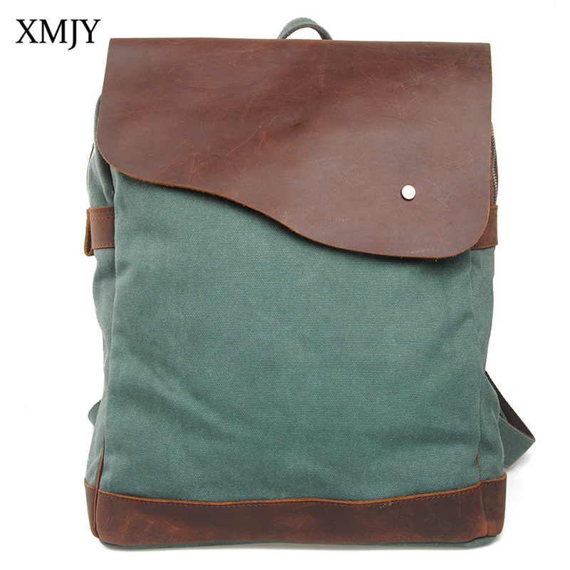 XMJY Canvas Backpacks Fashion Retro College Student School Bags Boy Girl Canvas with Crazy horse leather Casual Travel Rucksacks chic canvas leather british europe student shopping retro school book college laptop everyday travel daily middle size backpack