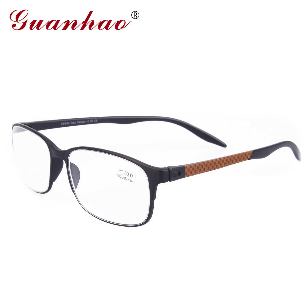 Guanhao Designer Spectacle Reading Glasses TR90 Frame Fashion Hyperopia Colors Men Women Computer Glasses for Sight 1.0 1.5