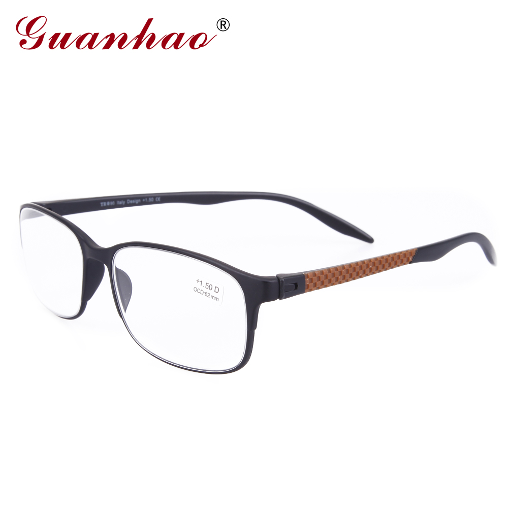 Guanhao Designer Spectacle Reading Glasses TR90 Frame Fashion Hyperopia Men Women Glasses Computer for Sight 1.0 1.5