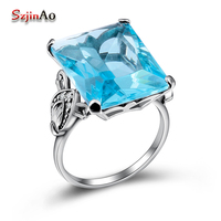 Custom Processing Wholesale And Retail Aquamarine Enchase Exquisite Carving Hollow Out 925 Silver Ring