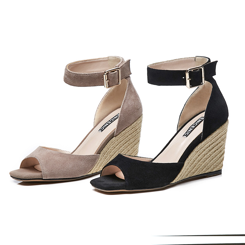 af1868a35ca wen-ugly-Summer-black-wedge-heels-high-heeled-sandals-leather -casual-elegant-fashion-straw-strap-open.jpg