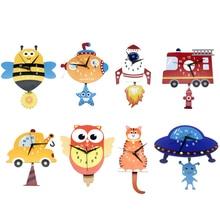 Japanese Adorable Pendulum Clock Funny Crafts Swinging Tail Wall Clock Kit for Kid's Nursery Children's Bedroom Decor