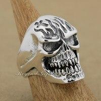 925 стерлингового серебра огромный тяжелый Череп Мужская Байкерская панк кольцо 9Q019A американский размер 8 ~ 13