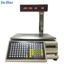 Balança de código de barras impressão de etiquetas equilíbrio (TM 15A 5D) balança eletrônica digital & impressora inglês rússia árabe espanhol
