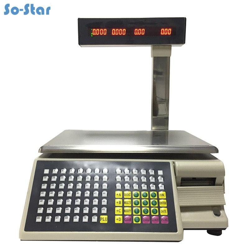 Escala de Impressão de Etiquetas de código de barras Escala Dahua (TM-15A-5D) balança Eletrônica Digital & Impressora de Inglês/Rússia/Árabe/Espanhol