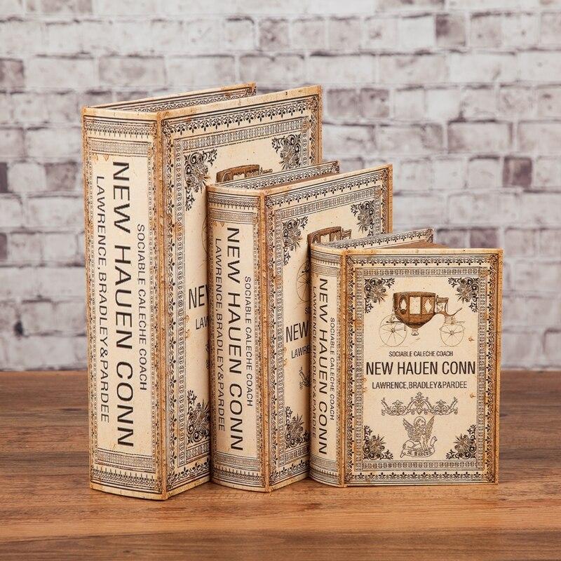 En gros 3 pièces taille grand moyen et petit USA style vieux rétro simulation armoire décoration photographie accessoires livre boîte ornements