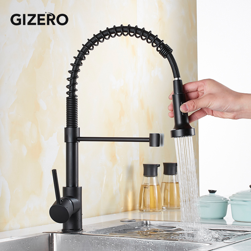 Newly Kitchen Pull Out Faucet Black Painted 360 Rotation Flexible Hot And Cold Mixer Taps Single Handle Deck Mounted ZR390