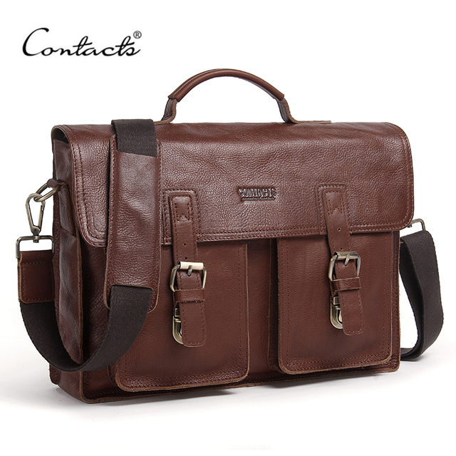 "CONTACT'S 14"" Genuine Leather Briefcase Document Case Shoulder Bag Men Business Bags Portfolio Crossbody Bag for Laptop Male Bag"