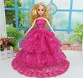 Wedding Party Gown Dress for Barbie Doll Princess Luxurious Multi-lace Clothes Perfect Gift Rose Red Four Layers Model