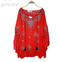 Bohemian People Hippie Chic Blouses Loose Flare Sleeve Embroidery Shirts V Neck Boho Tops Blusas Women Clothing X031T