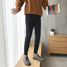 Fashion Casual Mens Harem Pants Spring And Autumn New M-4XL Solid Color Slim Feet Black Personality Youth Popular