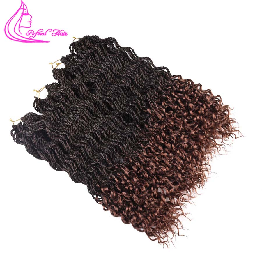 Refined Hair 18Inch Wavy Crochet Braids With Free End Senegalese Twist 30Strands Synthetic Deep Soft Curly Crochet Braid Weave
