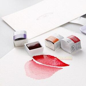 Image 4 - WINSOR & NEWTON твердый пигмент Акварельная краска 8/12/24/36/45 цвет Cotman старший Акварель Художественные принадлежности для рисования половина кастрюли мини