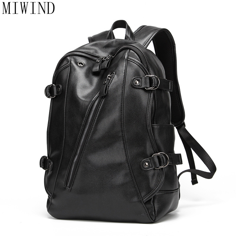MIWIND Men PU Leather Autumn New Arrival Backpacks For Men and Women Vintage Fashion School Bags Unisex Casual Backpacks TDQ892 cntang summer embroidery letter w baseball cap fashion cotton snapback for men women trucker hat unisex casual caps gorras