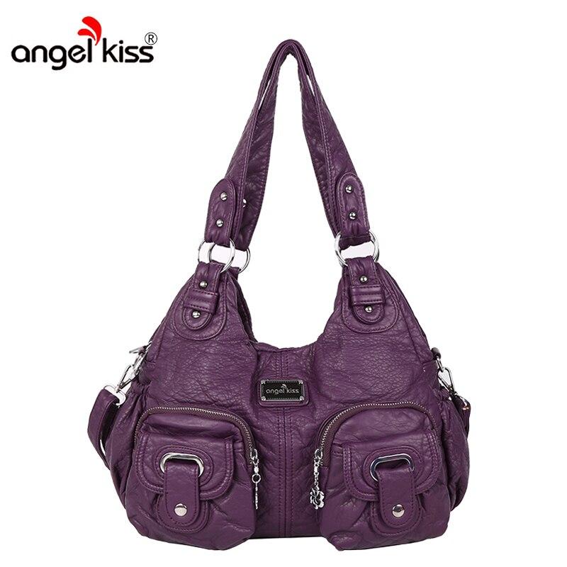 Sac à main lavé de marque AngelKiss sac à main en cuir PU pour femme sacs à bandoulière Designer sac messager décontracté grand Bolsas femininas