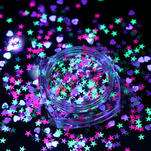 Star Heart Shape Fluorescent Nail Sequins 1g Mixed Color Glitter Flakies Paillette Manicure Nail  Decoration
