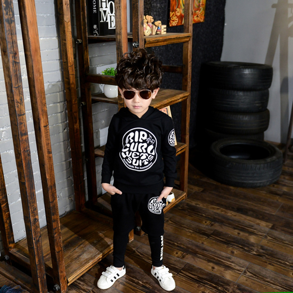 Boys long-sleeved sports suit spring and autumn new fashion children hooded sweater baby letters long-sleeved leisure suitsH9212