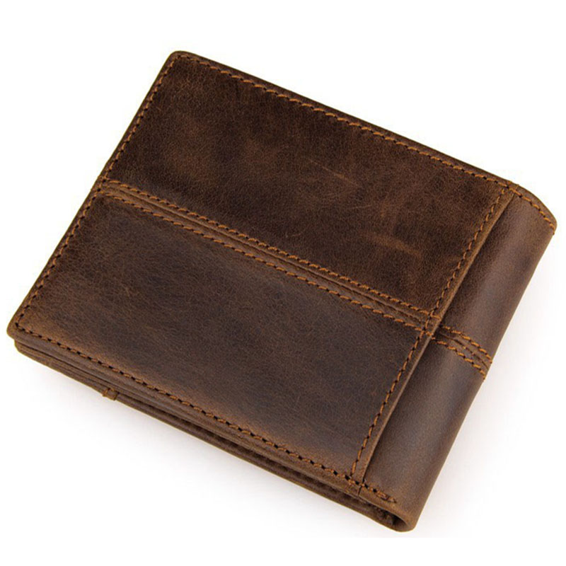 New Fashion Genuine Cow Leather Wallet Vintage Cowhide Short Design Men Wallets Coffee Casual Coin Purse Business Card Holder brand short leather men wallet new design casual money wallets coin pouch 2 folds card
