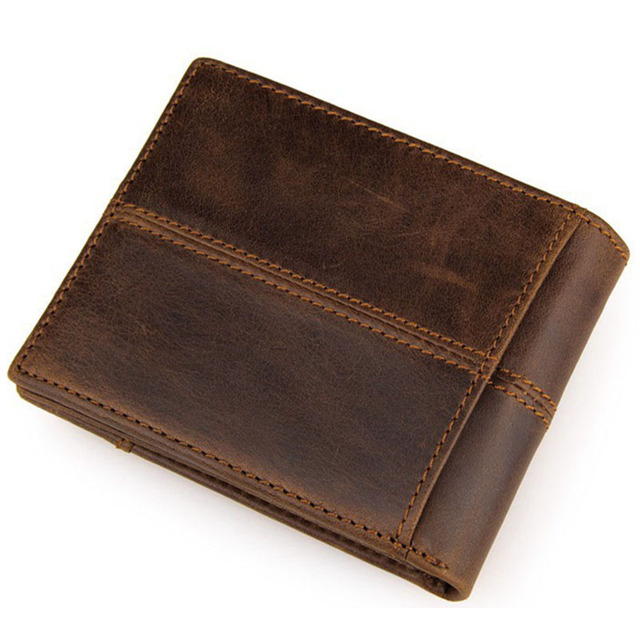 New Fashion Genuine Cow Leather Wallet Vintage Cowhide Short Design Men Wallets Coffee Casual Coin Purse Business Card Holder