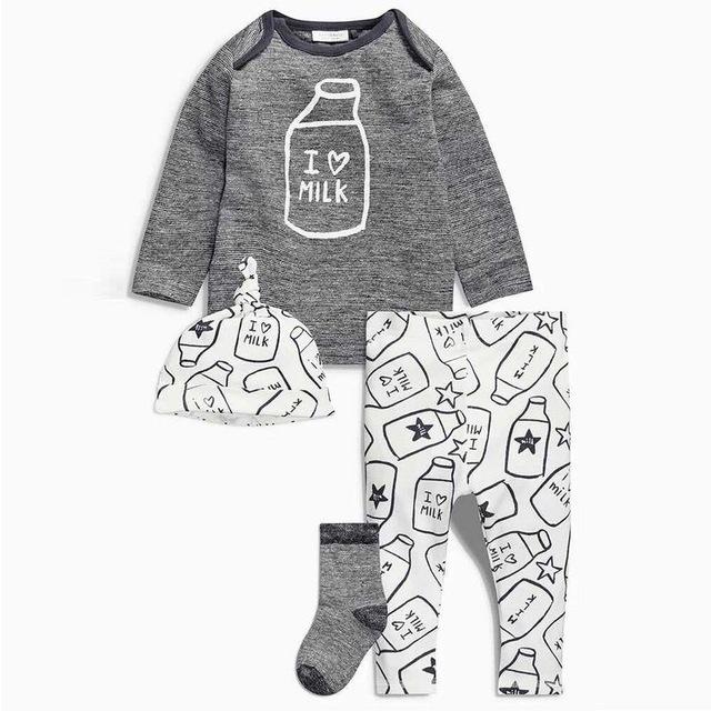2016 outono bebê menino roupas de algodão de moda carta de manga comprida t-shirt + calças + cap newborn 3 pcs terno bonito do bebê conjunto roupa da menina