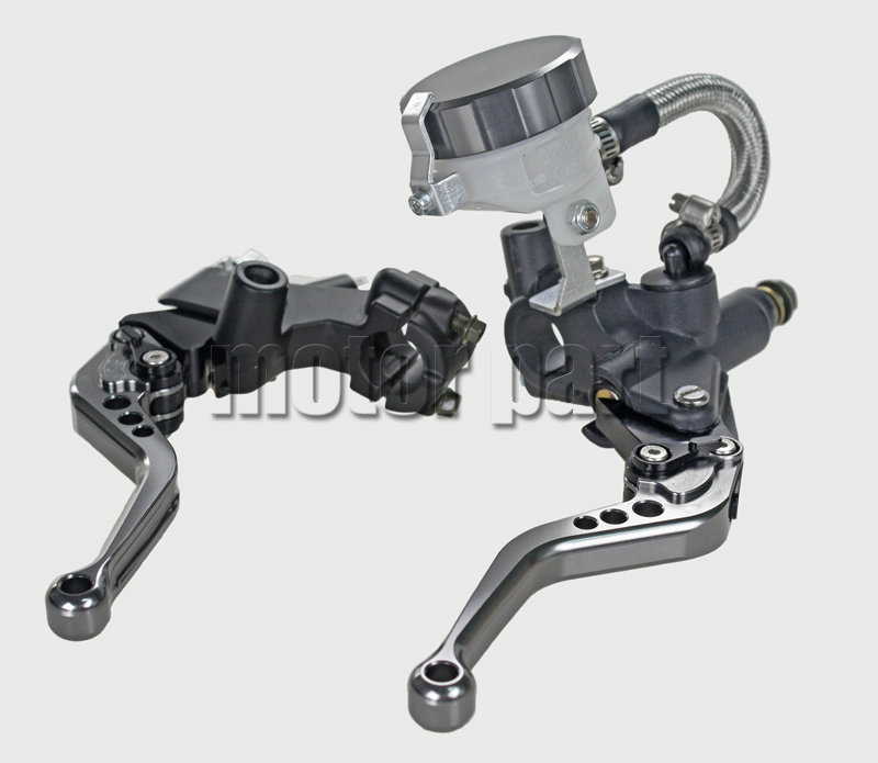 Grey Universal 22mm 7/8 Handlebar Adjustable CNC Brake Clutch Levers Master Cylinder Fluid Oil Reservoir Set For Ducati universal motorcycle brake fluid reservoir clutch tank oil fluid cup for mt 09 grips yamaha fz1 kawasaki z1000 honda steed bone