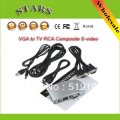 Free shipping Universal PC VGA to TV AV RCA Signal Adapter Converter Video Switch Box Supports NTSC PAL for computer peripherals