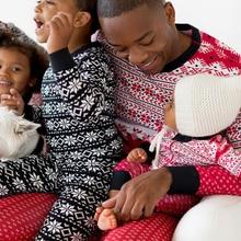 Family Matching Christmas Striped Snowflake Pyjamas Sets
