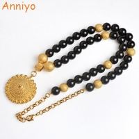 Anniyo Black Bead Necklace 68cm For Women Ethiopian Beaded Rosary Chain Jewelry Gold Color Pendant Africa