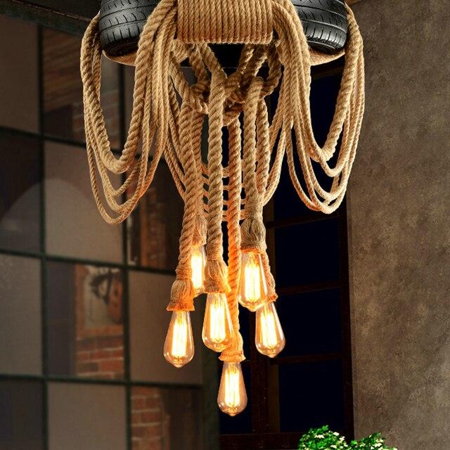 E27 Hemp Rope Light Diy Loft Personality Lights Retro Vintage Restaurant Lamp Dining Room Pendant Lamps No Include Bulb