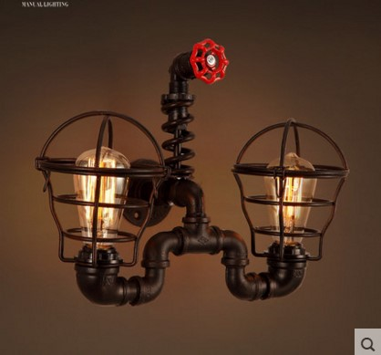 Wrount Iron Loft Vintage Wall Lamp With 2 Lights Fixtures For Home Retro Pipe Industrial Vintage Light Edison Wall Sconce Aplik