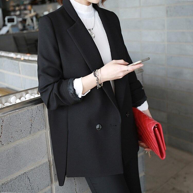 Noir Dames Court Entaillé Avant Dos Travail Longue Chic Fit Blazers Slim Blazer 2018 Printemps Veste Costume black Blue Formelle white Femmes Bureau De MpVSjqGzLU