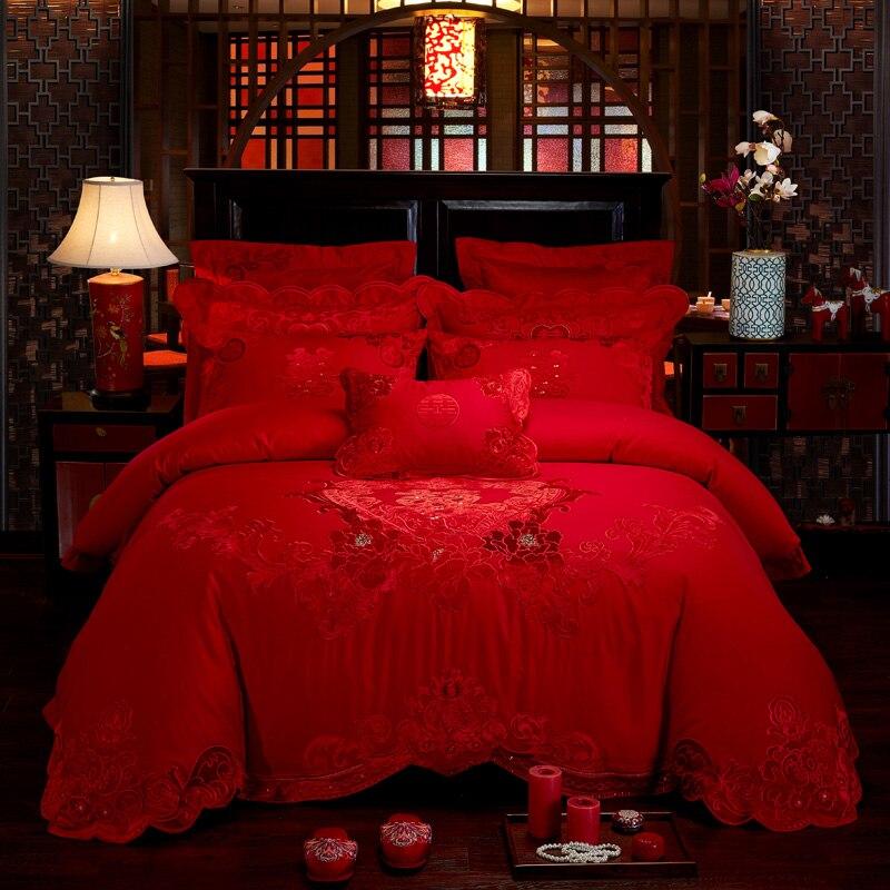 2018 золотой цвет роскошный свадебный королевский комплект постельного белья Королевский размер вышивка хлопок Простыня Набор красный подо