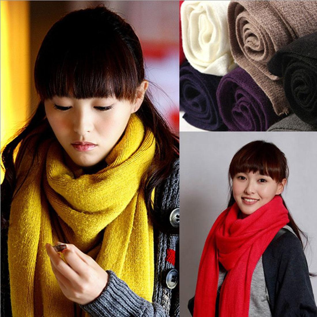 nueva negro rosa rojo bufanda mujeres otoo invierno soft comfort bufandas de cachemira larga y
