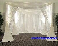 Couvert Rideau avec Stand Pavilion Cadre avec Toile de Fond Rideau Blanc couleur