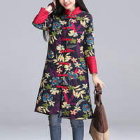 Chinese Style Parka 2017 New Winter Women Floral Printed Coats Plus Size Ladies Long Cotton Padded Jacket Female Outwear 8514