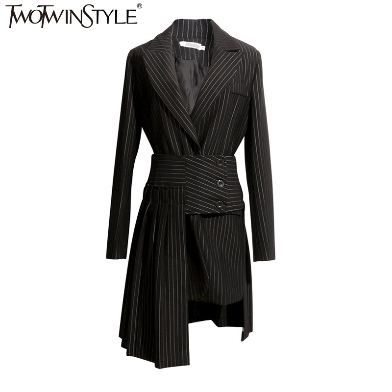TWOTWINSTYLE Autumn 2 Pieces Set Women Long Sleeve Striped Black Blazer Coat With Irregular Fold Midi